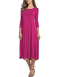 Limsea 2018 Womens Casual Half Sleeve Loose Dress Ladies Evening Long Maxi Dress