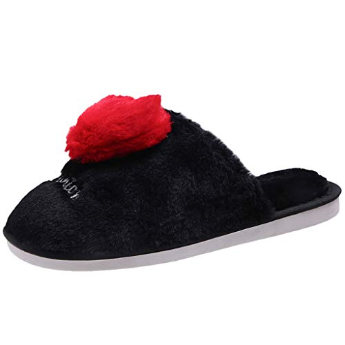 LIM&Shop ⭐ Womens House Shoe Men's Warm Slipper Cotton Home Shoe Comfor Fleece Plush Lining Slip-on Indoor Outdoor Clog Black ()