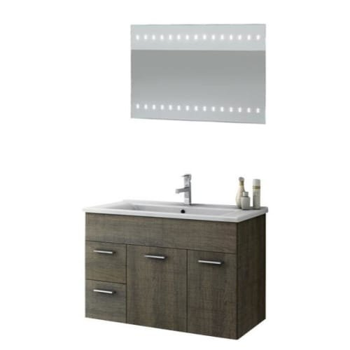 Nameeks LOR08 ACF 32-7/10″ Wall Mounted Vanity Set with Wood Cabinet, Ceramic To, Grey Oak
