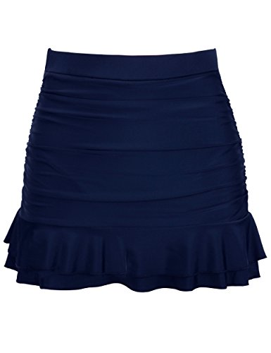 Firpearl Women's Ruched Swimsuit Bikini Tankini Bottom Ruffle Swim Skirt US10 Navy