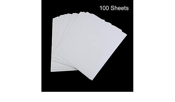 100 PCS A4 Papel de impresión por sublimación para poliéster Algodón Camiseta Hierro sobre papel de transferencia Accesorios de transferencia de impresión térmica (Blanco) ESjasnyfall: Amazon.es: Oficina y papelería