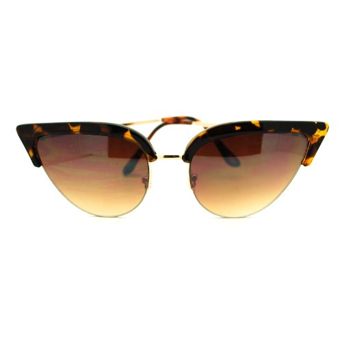 Womens Mod Half Rim Cat Eye 20s Retro Fashion Goth Sunglasses Tortoise - Gold Cat Eye Sunglasses