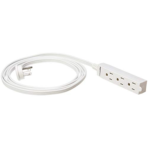 AmazonBasics Indoor 3 Prong Extension Power Cord Strip - Flat Plug, Grounded, 8 Foot, Pack of 2, White