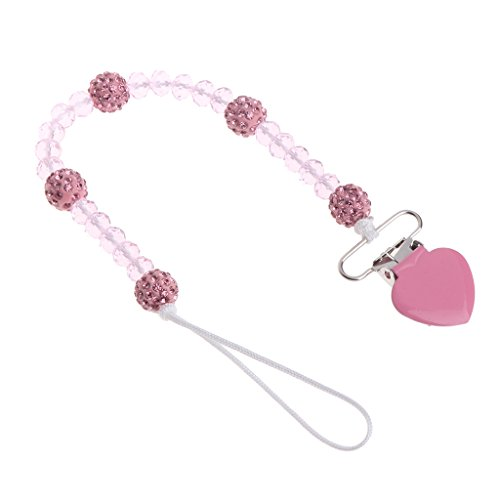 - BKID Cute Pacifier Chain Clip Crystal Beads Metal Clip Holder Soother Chains Nipple Leash Strap for Baby Boys Girls (Pink)