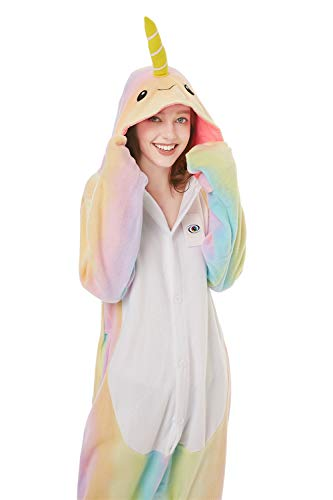 Foresightrade Adults and Children Animal Narwhal Unicorn Cosplay Costume Pajamas Onesies Sleepwear (120# fits for Child Height 128-148cm, Narwhal Rainbow New) -