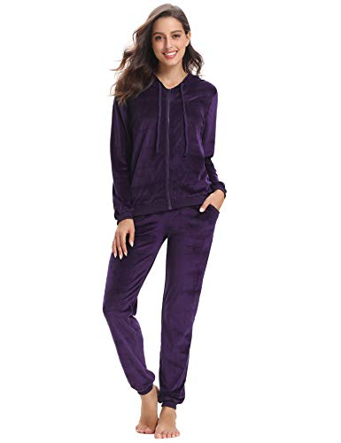 Aibrou Women's Velour Sweatsuit Set Active Casaul Hoodie Pants Tracksuit Set - Purple Tracksuit