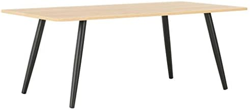 Perfect Tidyard salontafel, woonkamertafel, bijzettafel, koffietafel, voor slaapkamer, woonkamer, zwart en eiken, 120 x 60 x 46 cm  mvsWqZv