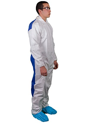 Elastic Wrists with Blue SMS Back White Elastic Wrists and Ankles Pack of 25 Medium Keystone Key-TEC-Cool-MED-White Key Guard Coverall