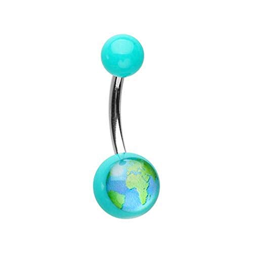 (Covet Jewelry One World Acrylic Logo Belly Button)