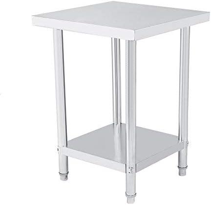 EBTOOLS Arbeitstisch Küche Edelstahl Arbeitsplatte Küche 2 Einlegeböden Professioneller Arbeitstisch stabil langlebig leicht zu reinigen, 3 Größen wählbar, 61X61cm