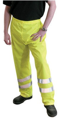 Large Yellow High Visibility OccuLux® High Visibility Fluorescent Yellow Breathable Safety Pants With 3MTM ScotchliteTM Reflective Tape ()