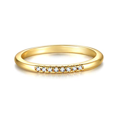 Valloey 14K Gold Thin Beaded Rings, Full Bead Sterling Twisted Rope Wedding Band Stacking Ring for Women(Ring-Smooth-5) ()
