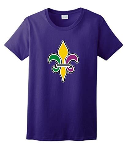 St. Fleur-de-LYS Vintage MardiGras Top Mardi Gras Outfit Fleur-de-lis Mardi Gras Clothing Ladies T-Shirt Large Prpl Purple ()