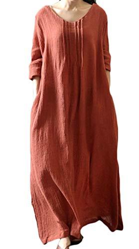 3/4 Bouffante Lin Manches Col V Poches Casual Orange Robe Maxi Longue Des Femmes Domple
