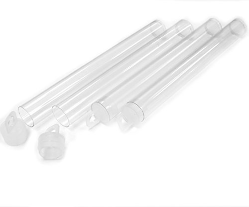Clear Plastic Seed Bead Tubes with Caps 25 Pack - 5-inch, 16x125mm (Plastic Tube Beads)