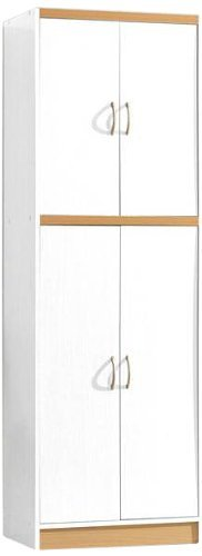 Hodedah 4 Door Kitchen Pantry with Four Shelves White