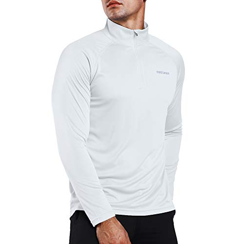 Ogeenier Men's 1/4 Zip Pullover UPF 50+ UV Sun Protection Long Sleeve Shirts Outdoor Running Athletic Shirts (Pullover 1/4 Microfiber Zip)