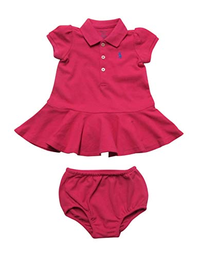 Ralph Lauren Baby Girls Polo Dress Pique Cotton Playwear (9 Months, Ultra Pink) ()