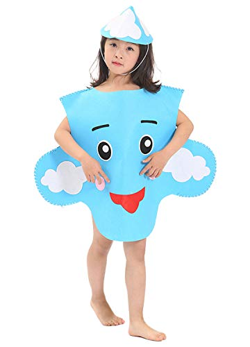 La moriposa Unisex Kids Halloween Sun Cloud Moon DIY Costume Dress Set Costume Suit with Hat(Cloud)