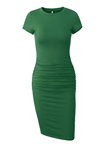 Knee Length Sheath - Missufe Women's Short Sleeve Ruched Casual Sundress Midi Bodycon T Shirt Dress (Dark Green, X-Large)