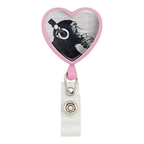Card Monkey Holder (Headphone Chimp Monkey Wall Heart Lanyard Retractable Reel Badge ID Card Holder - Pink)