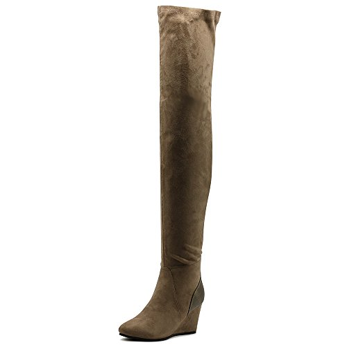 Ollio Women's Shoe Stretch Faux Suede Thigh High Wedge Heel Long Boots TWB01025(8 B(M) US, Taupe)