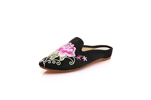 Bordada Zapatos de de Fondo Mujer Tela de Plano Black Verano Punta Chino de Estilo Zapatillas de Zapatos de qZvFEf6n6