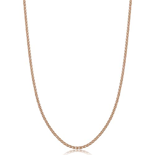 Kooljewelry Rose Gold Plated Sterling Silver Round Wheat Chain Necklace (1.5 mm, 16 inch)