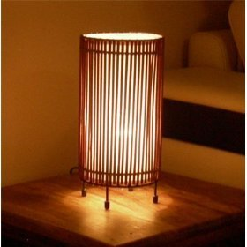 Brand New Stylish Round Bamboo Table Lamp