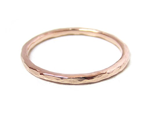 ZilverPassion Simple Dainty Sterling Silver Hammered Texture Stackable Band Ring Size 2-15, Choose Silver, Gold Plated, Rose Gold Plated (6.5, rose-gold-flashed-silver) by ZilverPassion