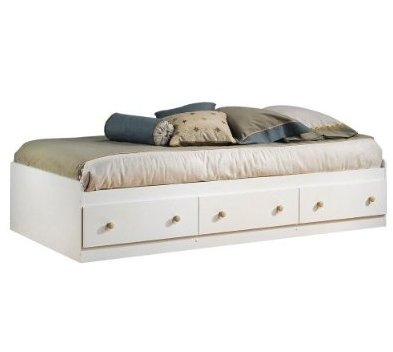 SKB Family Twin Size Mates Platform Bed in White/Maple with 2 Storage Drawers home wooden Natural 77 x 41 x 16 inches