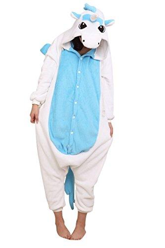 LATH.PIN Unisex Costume Animal Cosplay Onesie Adult Pajamas Anime Cartoon Sleepwear (S, Blue Unicorn)