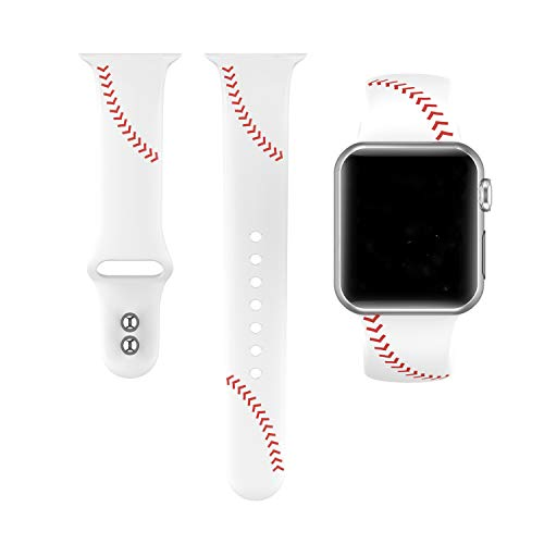 Yutior Sport Band Compatible with Apple Watch 42mm 44mm, Soft Silicone Men Women Large Small Baseball Strap Compatible with iWatch Series 4 Series 3 Series 2 Series 1 Nike+, Sport ()