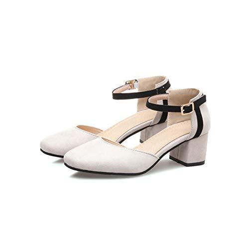 Comodo Cinturino White Tacco Abito 5 LYY Scarpe Cm Altezza Quadrata Alla Singole Dolce Testa Piatto Donna Tacco Spesso Cavo Caviglia Fibbia YY Pompe Del gRg60