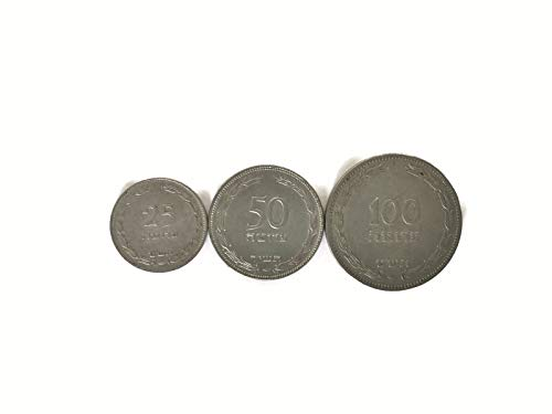 - 3 Israeli First Independence Pruta Coins Rare Collectible 25, 50, 100 Prutot, 1949-1950