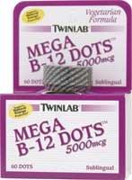 TWINLAB B-12 DOTS MEGA 5000MCGS - Dots B-12 Sublingual