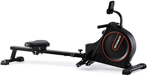 ECHANFIT Rowing Machine Foldable Indoor Rower w LCD Monitor with 16 Levels Silent Magnetic Belt System and Adjustable Console Angle for Cardio Exercise Workout at Home and Studio