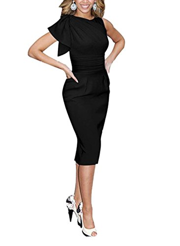 REPHYLLIS Women Summer Elegant Sleeveless OL Working Cocktail Casual Party Pencil Dress Black S