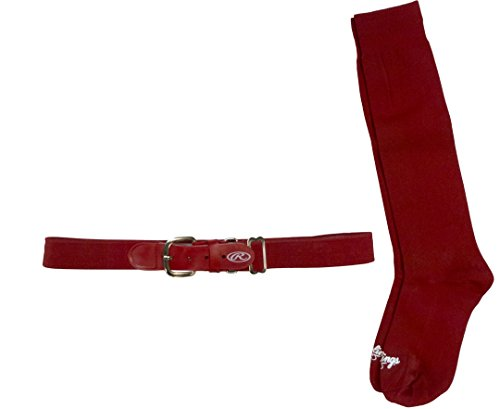Rawlings BELTSOCKS-RED Baseball Belt & Sock Combo (Youth Small/Red) ()