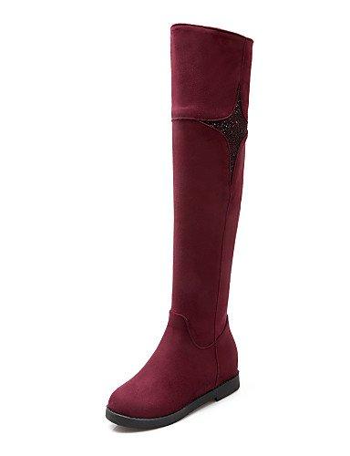 Noir-us8.5   eu39   uk6.5   cn40 XZZ  Chaussures Femme - Habillé   Décontracté - Noir   Marine   Bordeaux - Talon Compensé - Compensées   Bout Arrondi   Bottes à la Mode -