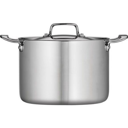 Tramontina 80116/556DS Stainless Steel Tri-Ply Clad Covered Stock Pot, 8-Quart, Made in China