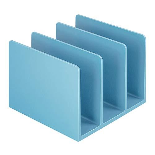 Bookshelf Bookshelf, Triple Book Stand Book Holder Book by Book Block (Color : Blue)