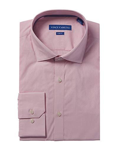 Vince Camuto Men's Slim Fit Performance Coral Diamond Dobby Dress Shirt, Pink, 15.5 34/35