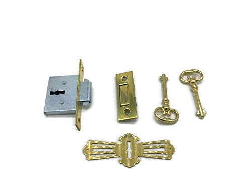 Brass Square Full Mortise Lock w/Two Skeleton Keys for Roll Top Desk - Antique Furniture Hardware | LRT-4