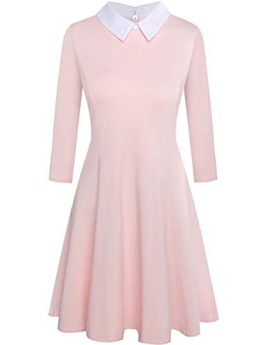 Melynnco Womens 3/4 Sleeve Casual Dress Wear to Work with Peter Pan Collar for Party Pink Small -
