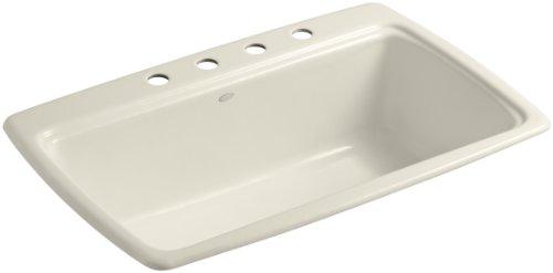 (KOHLER K-5863-4-47 Cape Dory Self-Rimming Kitchen Sink, Almond )