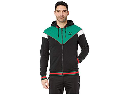 PUMA Men's Lux MCS Hooded Track Jacket Puma Black/Verdant Green/Puma White/Toreador Large (Hooded Track Jacket)