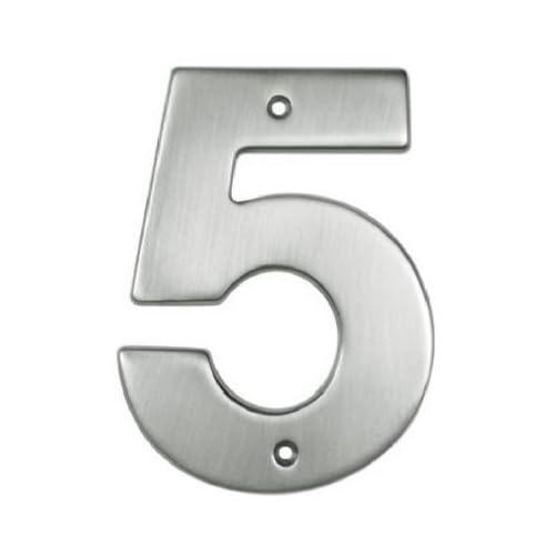"Brainerd #BH3085D-BSN-U 5"" #5 Nickle House Number"
