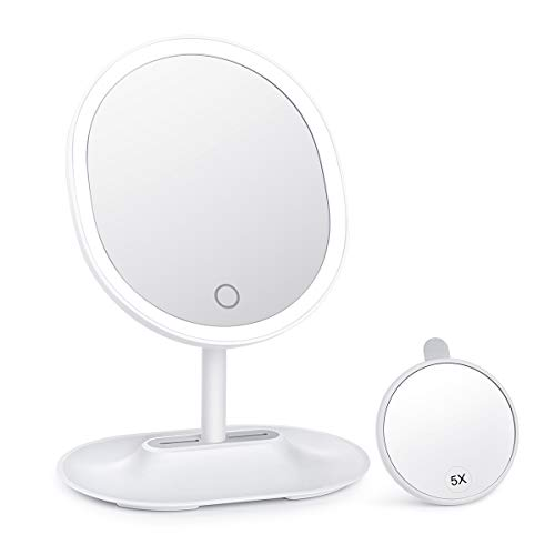 Updated 2019 Version KEDSUM Rechargeable Lighted Makeup Mirror, LED Vanity Mirror with Lights, Dimmable Travel Mirror with 5X Detachable