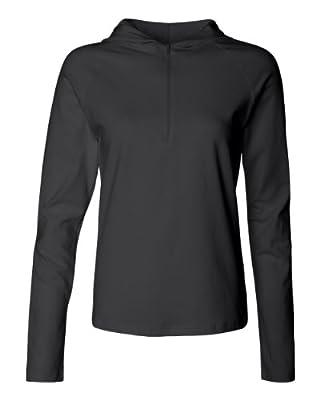 Bella Ladies' Cotton/Spandex 1/2 Zip Hooded Pullover 875, X-Large, Black